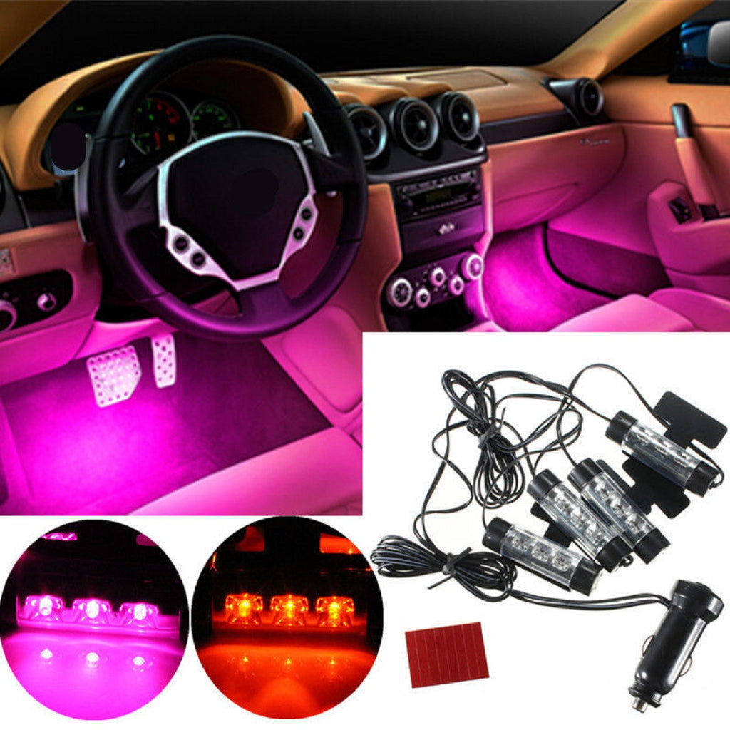 4x 3 led car charge 12v 4w atmosphere lamp glow light car interior dec shaltsnbuy. Black Bedroom Furniture Sets. Home Design Ideas