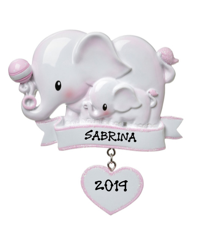 Personalized Ornament: Baby Elephant (Choose Pink or Blue)