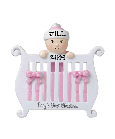 Personalized Ornament: Baby in Crib (Choose Pink or Blue)