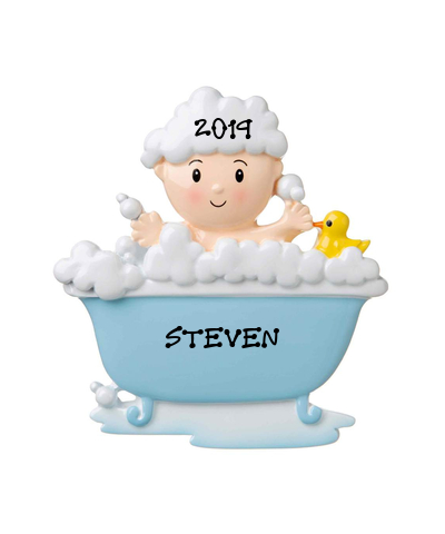 Personalized Ornament: Baby in Tub (Choose Pink or Blue)