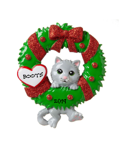 Personalized Ornament: Cat with Christmas Wreath