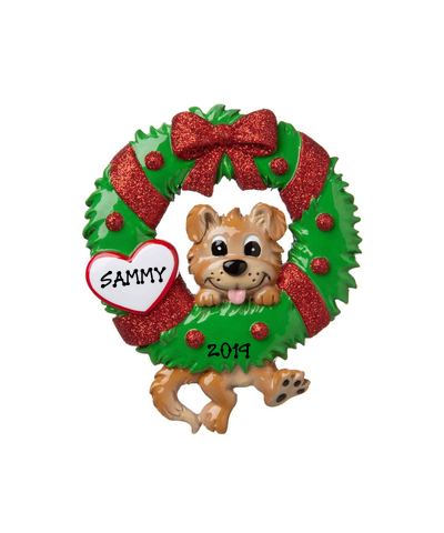 Personalized Ornament: Dog with Christmas Wreath