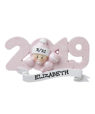 Personalized Ornament: 2019 Baby's First (Choose Pink or Blue)