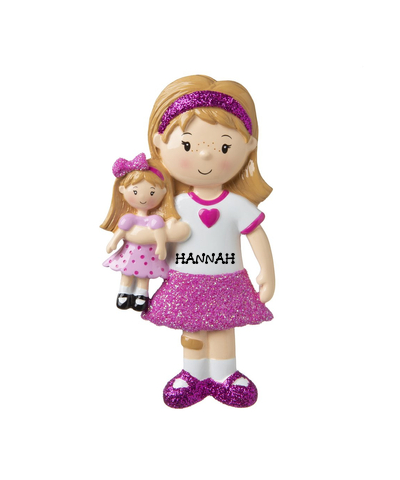 Personalized Ornament: Girl Holding a Doll