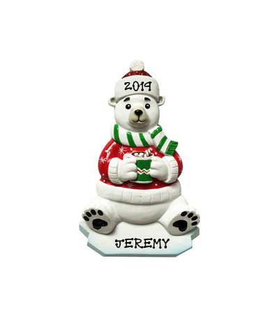 Personalized Ornament: Santa Polar Bear