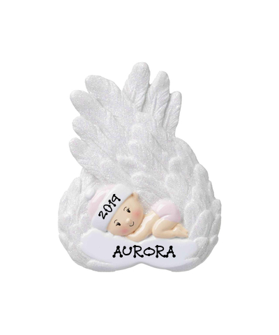 Personalized Ornament: Baby Angel (Choose Pink or Blue)