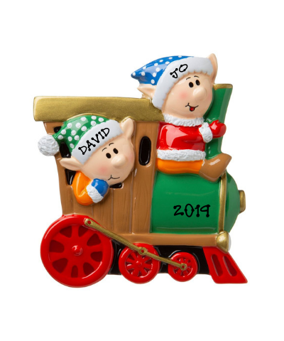 Personalized Ornament: Elves on a Train