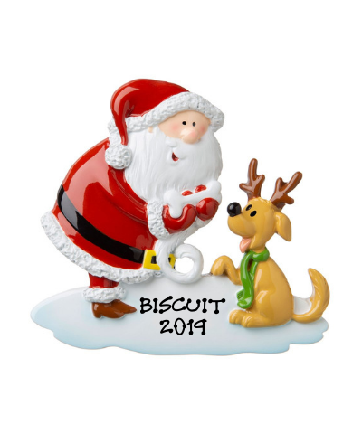 Personalized Ornament: Santa with Dog