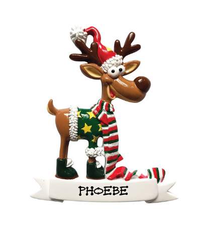 Personalized Ornament: Reindeer with Banner