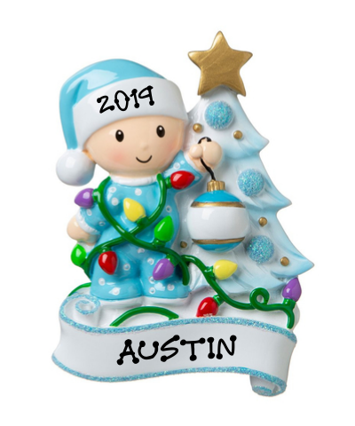 Personalized Ornament: Baby Decorating Tree (Click to see more color options)