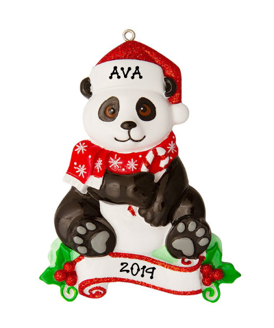 Personalized Ornament: Panda with Banner