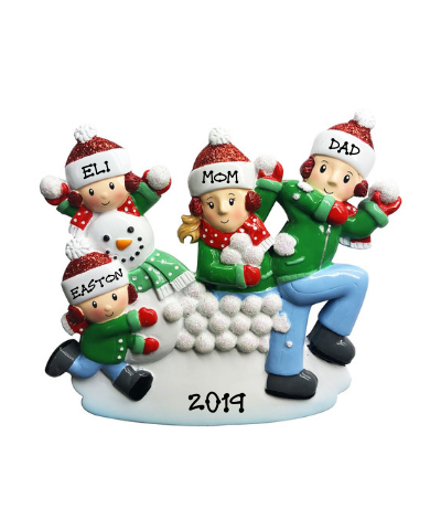 Personalized Ornament: Family Snowball Fight (Click to see more size options)