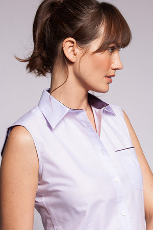 Oxford Lilac Plain Aubergine Trim Sleeveless - PollyB International