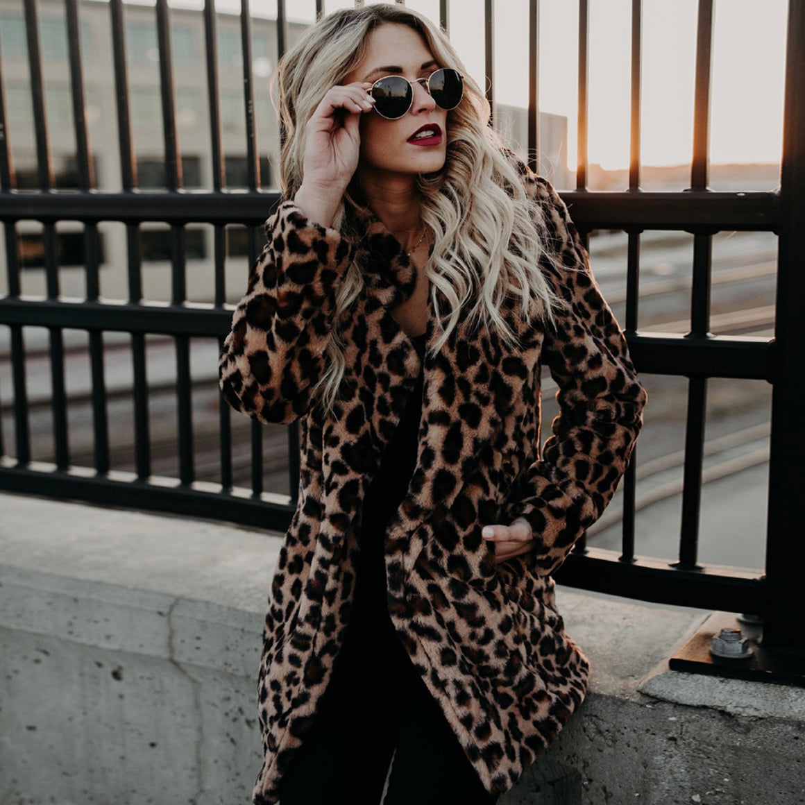 Leopard Print Casual Jacket Faux Fur - PollyB International