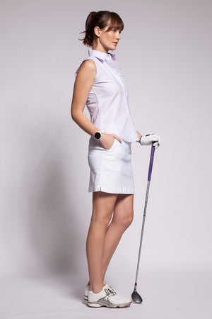 Oxford Lilac Trim Plain Lilac Sleeveless - PollyB International