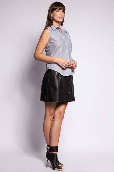 Womens Cotton Rich Marl Grey Sleeveless Shirt