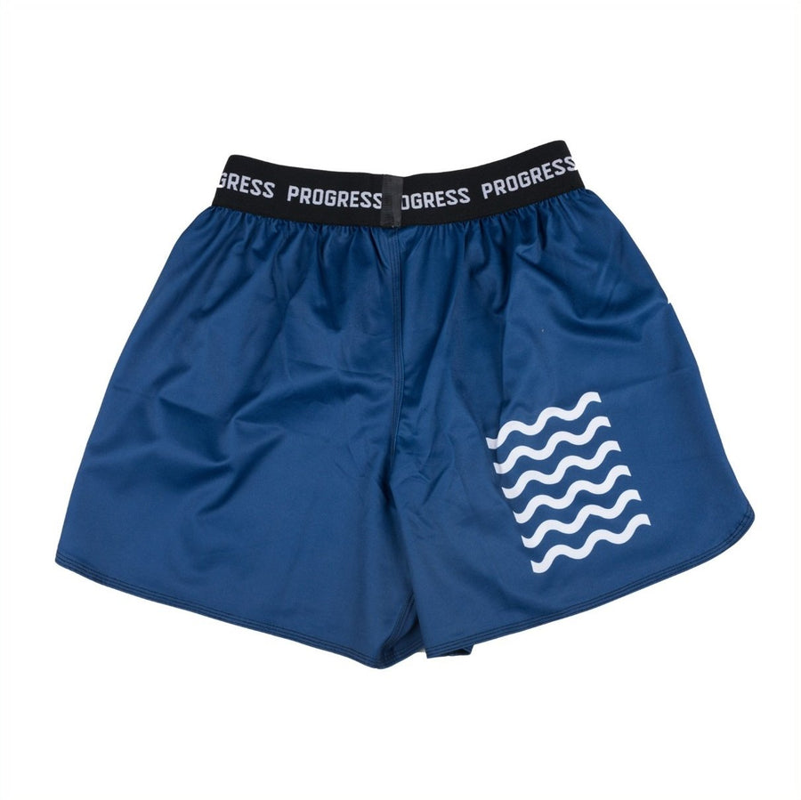progress jiu jitsu blue sportif board shorts back