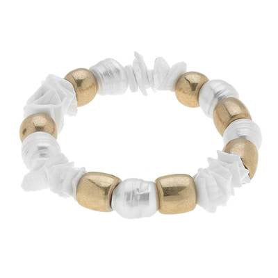 Elle Chunky Freshwater Pearl Stretch Ivory Bracelet