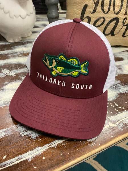 Tailored South - Bass Hat Maroon/White