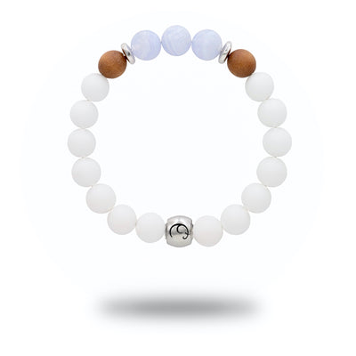 women's white stretch bead bracelet with blue lace agate stone beads