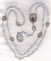 7 Sorrows Servite Rosary Our Lady of Seven Sorrows Blue oval beads 7S05