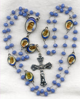Brigittine Rosary Blessed Virgin Mary Blue Chalcedony Beads BR02