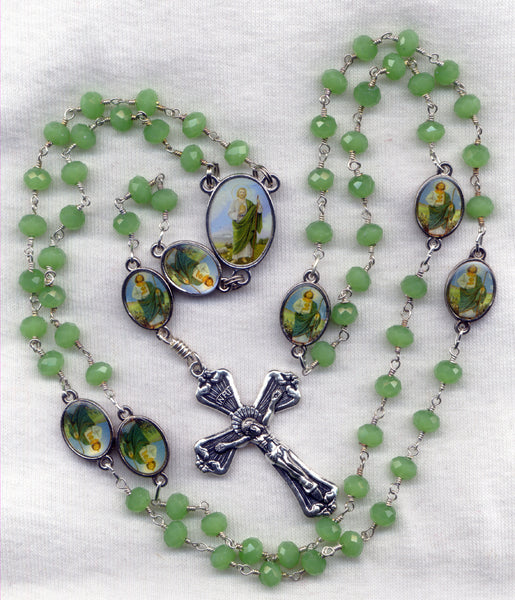 Brigittine Rosary St Jude Patron of the Impossible Green Chalcedony Beads BR03