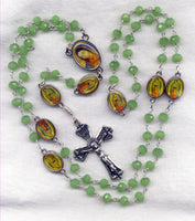 Brigittine Rosary Our Lady of Guadalupe Green Chalcedony Beads BR04