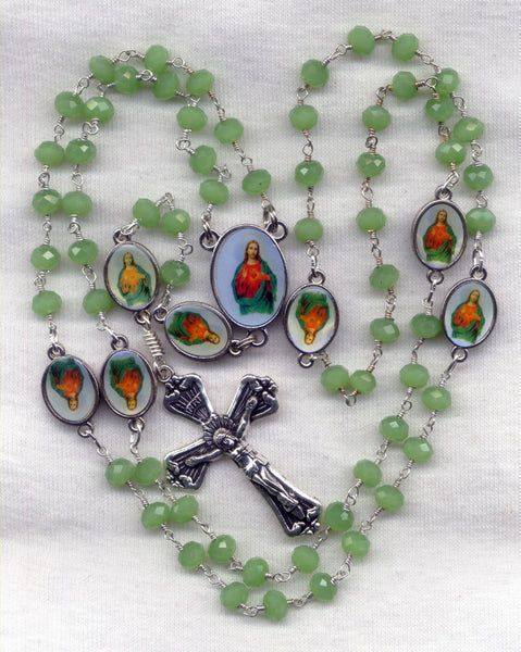 Brigittine Rosary Sacred Heart of Jesus Green Chalcedony Beads BR05