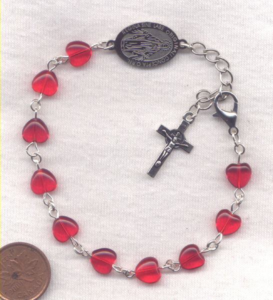 Red Glass Heart One Decade Rosary Bracelet BR023