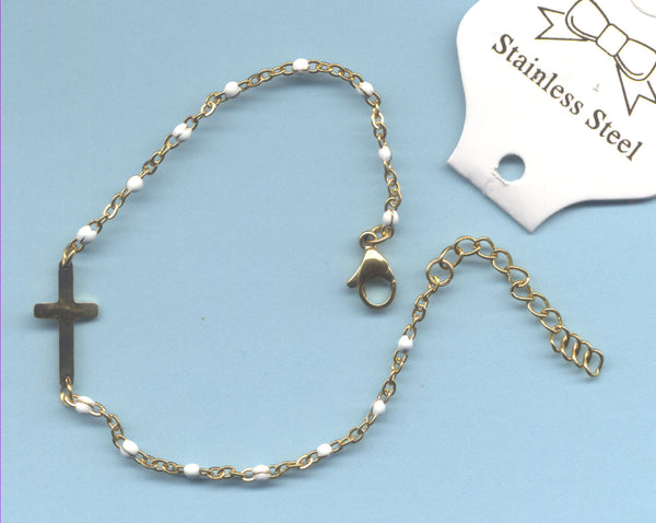 Gold Cross White Beaded Chain Bracelet BR030