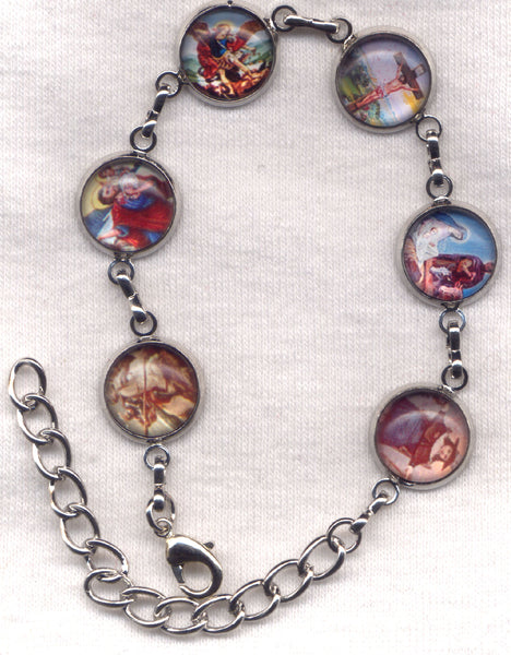 Colour Pictures St Michael and Others Medium Silver Chain Bracelet BR032