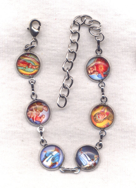 Colour Pictures Titles of Our Lady Medium Silver Chain Bracelet BR033