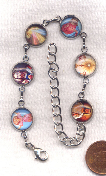 Colour Pictures Titles of Our Lord Jesus Medium Silver Chain Bracelet BR034