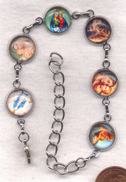 Colour Pictures Mary Mother of Jesus Medium Silver Chain Bracelet BR035