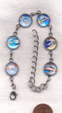 Colour Pictures Lovely Lady Dressed in Blue Medium Silver Chain Bracelet BR036