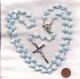 Bulk Buy Pastel Baby Blue Heart Rosaries 4 per package