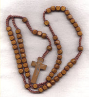 Wood Cord Rosary Dark Brown Square Beads CD03