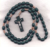 Wood Cord Rosary Dark Green Beads CD05