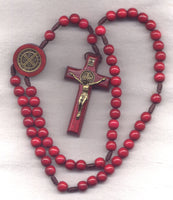 St Benedict Medal Wood Cord Rosary Madiera Red CD09