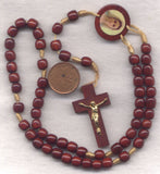Our Lady Queen of Peace Wood Cord Rosary Mahogany Red CD10