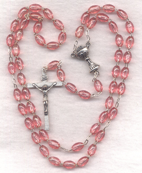 First Communion Rosary Econo Pink Acrylic Beads FC03