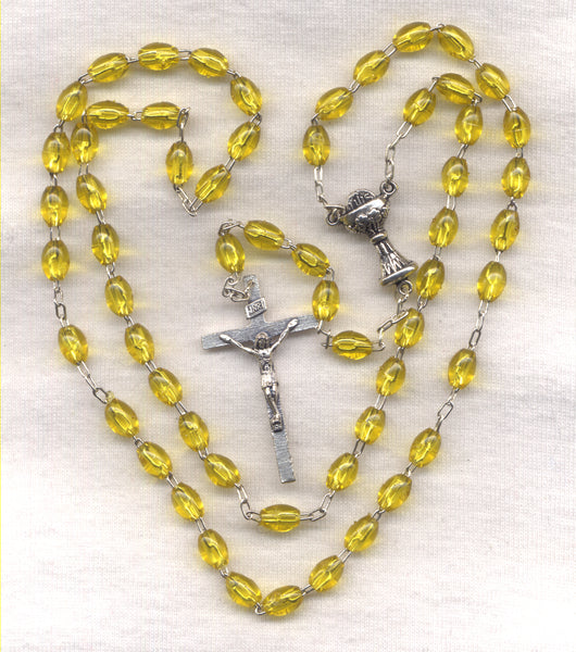 First Communion Rosary Econo Yellow Acrylic Beads FC04