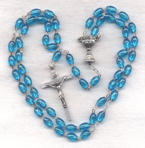 First Communion Rosary Econo Aqua Blue Acrylic Beads FC06