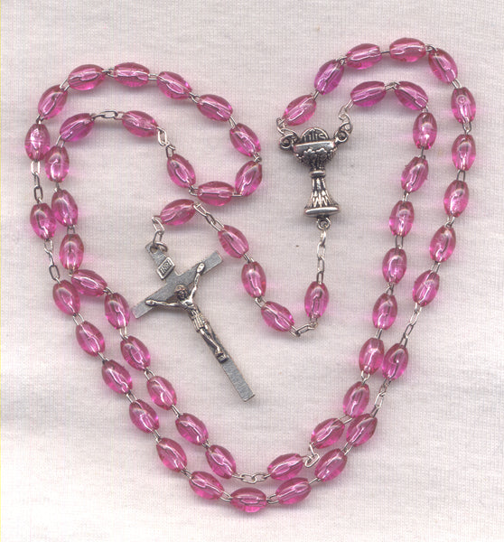 First Communion Rosary Econo Purple Acrylic Beads FC07