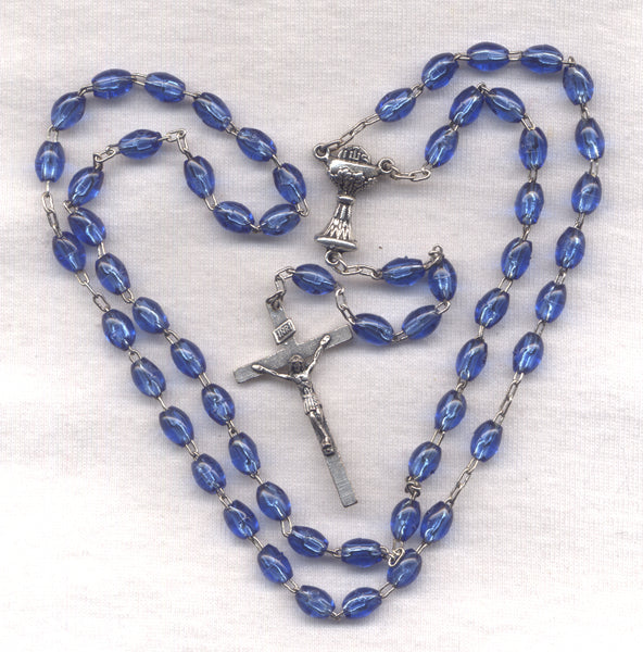 First Communion Rosary Econo Marine Blue Acrylic Beads FC08