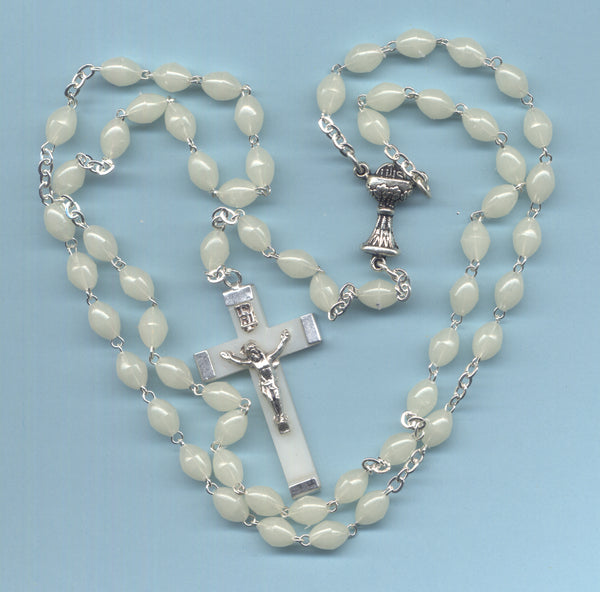 First Communion Rosary Econo Glow in the Dark Acrylic Beads FC09