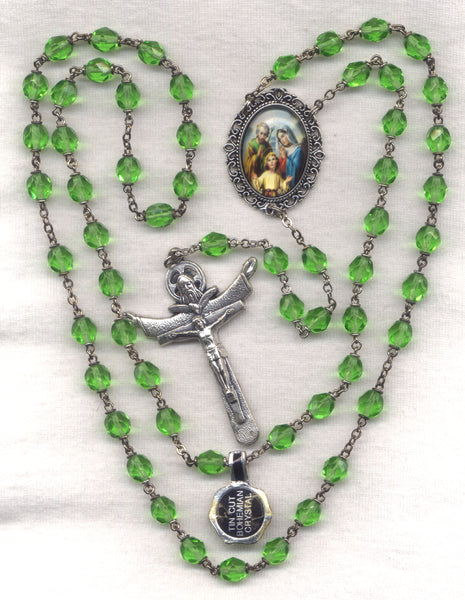 Most Holy Family Peridot Bohemian Crystal FanC15