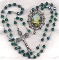 Our Lady of Fatima Emerald AB Crystal FanC17