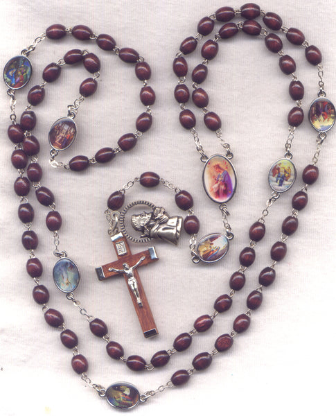 7 Joys of Mary Franciscan Crown Brown Novena Beads  FR01